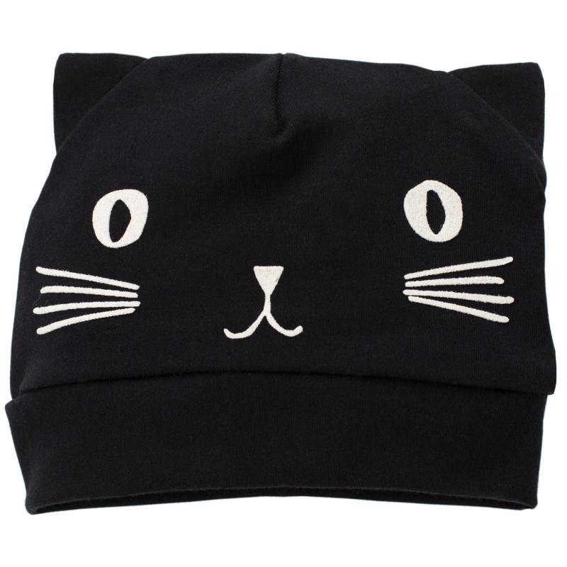 Kαπέλο γατάκι με αυτιά από βαμβάκι - unisex, μαύρο  738
