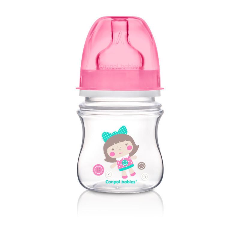 Μπουκάλι πολυπροπυλενίου με θηλή σιλικόνης 3+ μήνες αργής ροής με εικόνα κοριτσάκι, 120 ml  77238