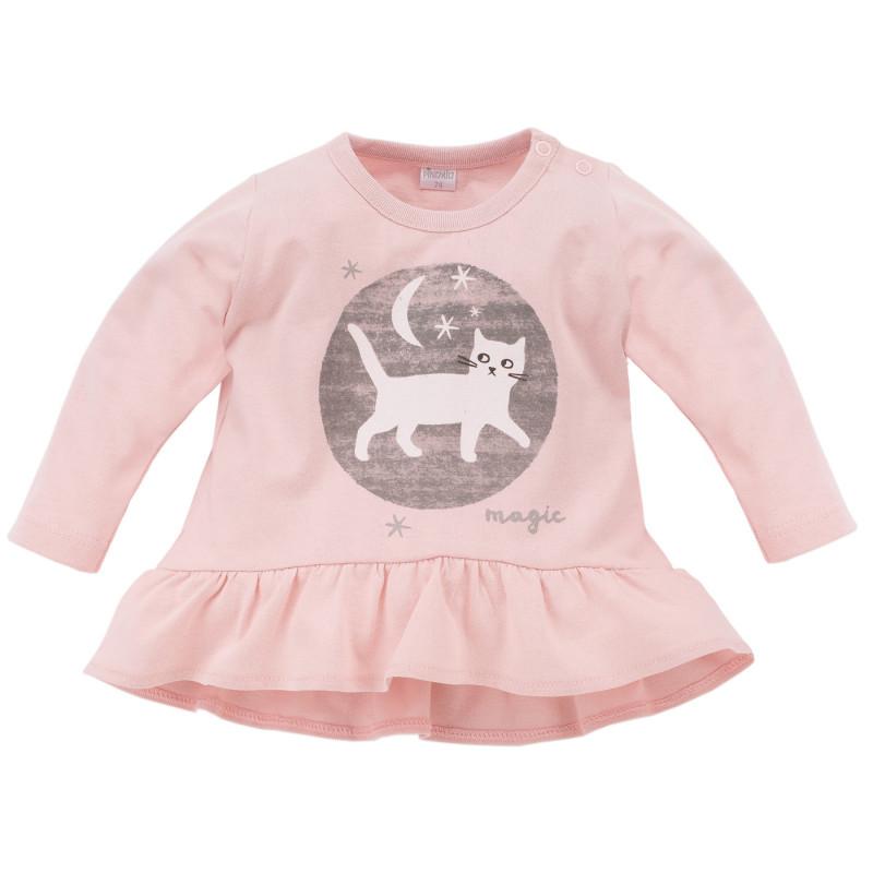 Μακρυμάνικη βαμβακερή μπλούζα με γατάκι απλικέ για κοριτσάκι  782