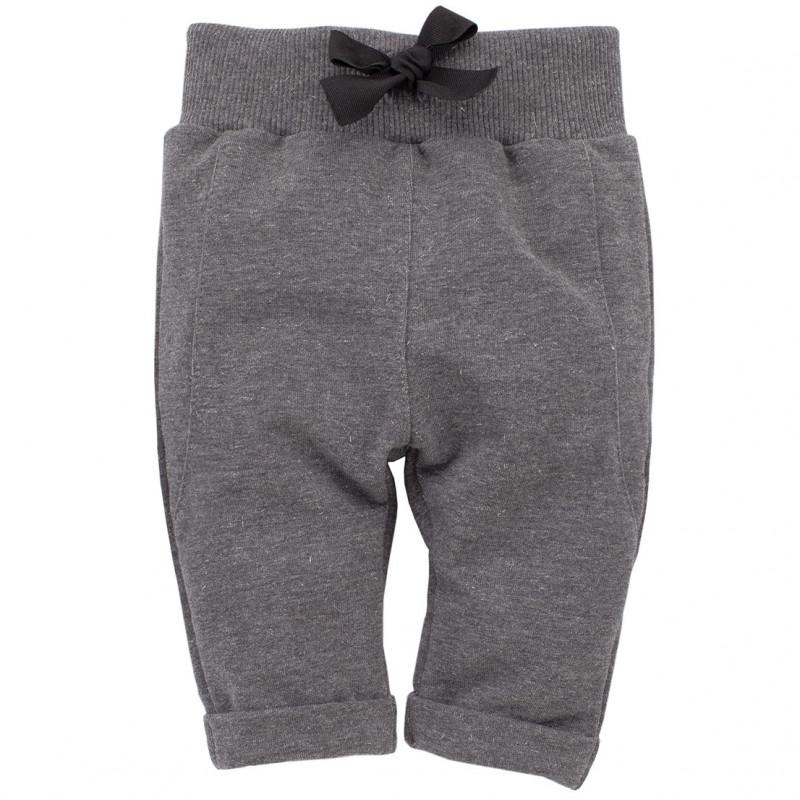 Βρεφικό παντελόνι για κορίτσι, σε γκρι χρώμα με ασημί νήματα  783
