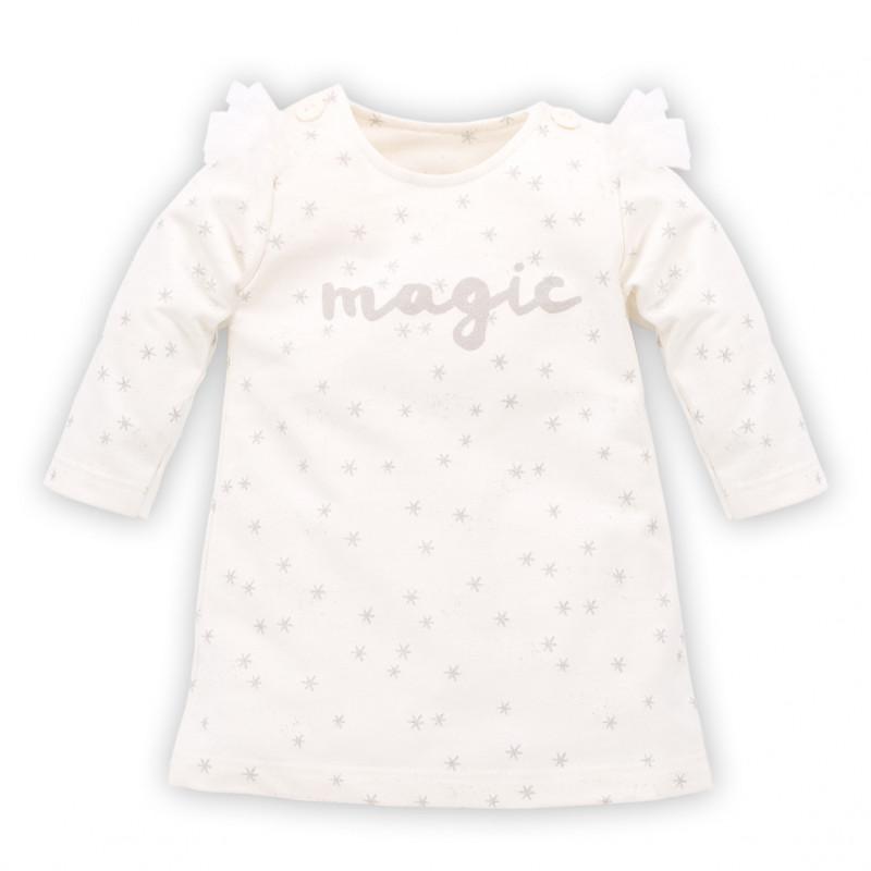 Μακρυμάνικο φόρεμα με κουμπιά και γράμματα για κοριτσάκι  784