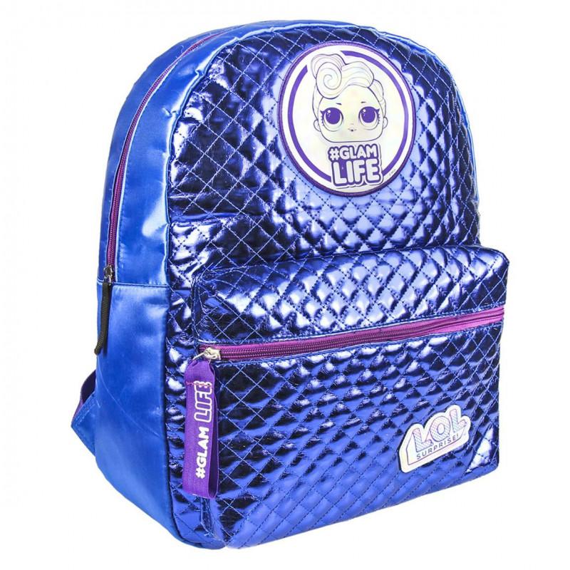 Μπλε σχολική τσάντα με ρυθμιζόμενους ιμάντες για κορίτσι  80052