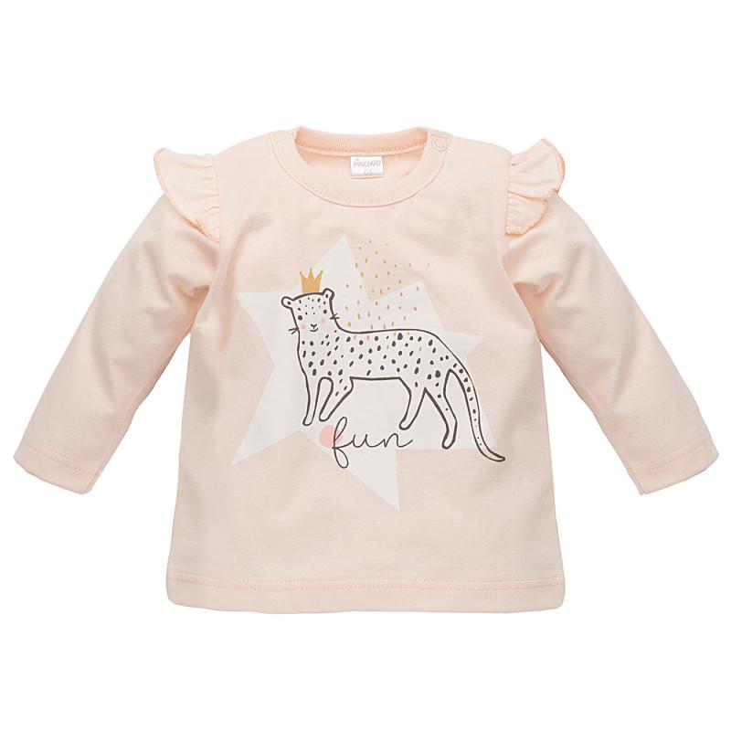 Βρεφική, βαμβακερή μπλούζα για κορίτσι, με μακριά μανίκια και βολάν στους ώμους  816