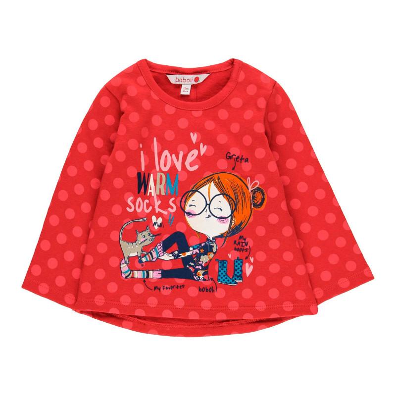 Κόκκινη μακρυμάνικη μπλούζα βαμβακιού με κουκκίδες για ένα κορίτσι  99035